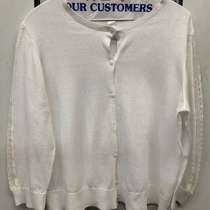 Loft white cardigan sweater xl 7 buttons front